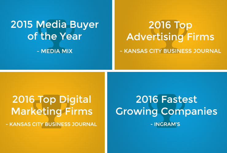 An image of Rhycom's latest advertising awards: 2015 Media Buyer of The Year, 2016 Top Advertising Firms, 2016 Top Digital Marketing Firms, 2016 Fastest Growing Companies.