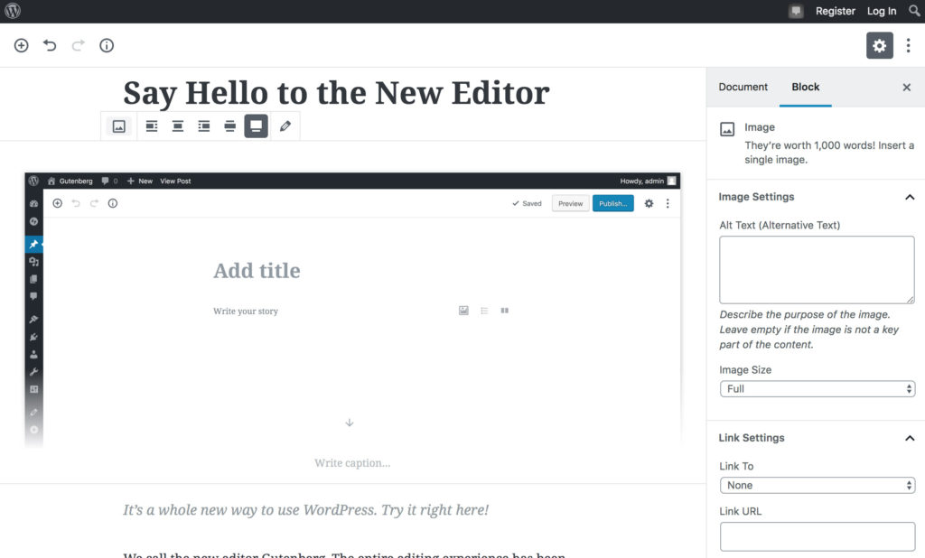 The Gutenberg Editor in WordPress
